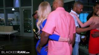 Interracial MILF Brandi Love And Blonde Friend BBC Gangbang
